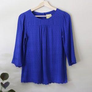 Maeve Cobalt Blue 3/4 Sleeve Blouse sz2